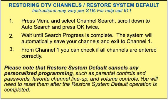 Restore System Default Instructions